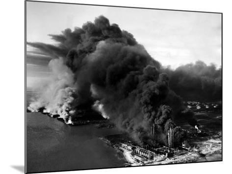 Oily Black Smoke Rises from the Texas City Monsanto Chemical Company Plant--Mounted Photo