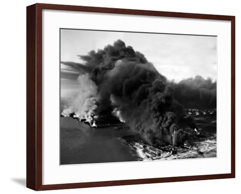 Oily Black Smoke Rises from the Texas City Monsanto Chemical Company Plant--Framed Art Print