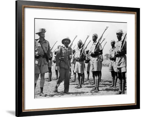 Deposed Ethiopian Leader, Haile Selassie with Ethiopians Soldiers Fighting for British, Mar 10 1941--Framed Art Print