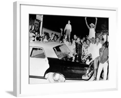 African American Jeer Police During the 1965 Watts Riots--Framed Art Print
