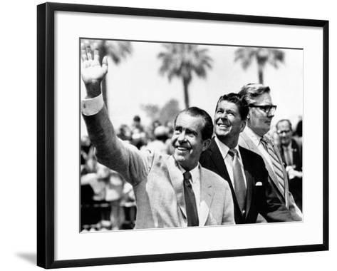 Pres Richard Nixon, Gov Ronald Reagan and Donald Johnson, Administrator of Veterans Affairs--Framed Art Print