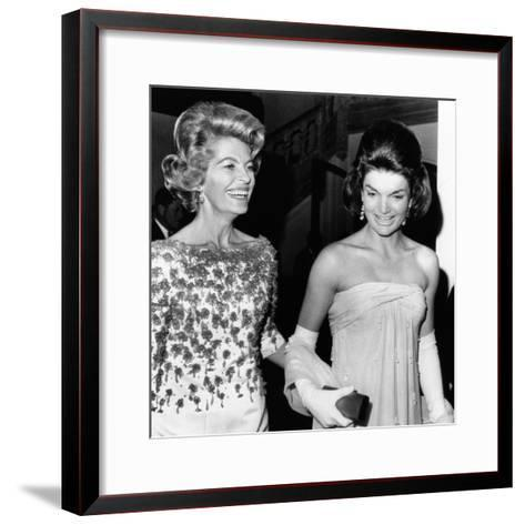Jacqueline Kennedy with the Wife of the French Ambassador, Nicole Alphand--Framed Art Print