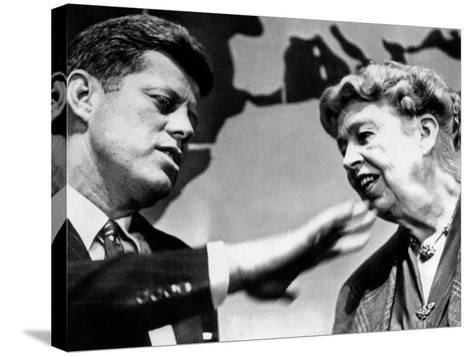 Eleanor Roosevelt and Sen John Kennedy in a Public Appearance at Brandeis University--Stretched Canvas Print