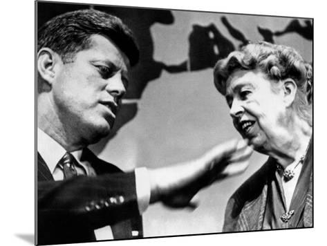 Eleanor Roosevelt and Sen John Kennedy in a Public Appearance at Brandeis University--Mounted Photo