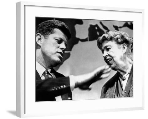 Eleanor Roosevelt and Sen John Kennedy in a Public Appearance at Brandeis University--Framed Art Print
