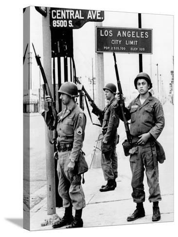 National Guardsmen at a Los Angeles City Limits--Stretched Canvas Print
