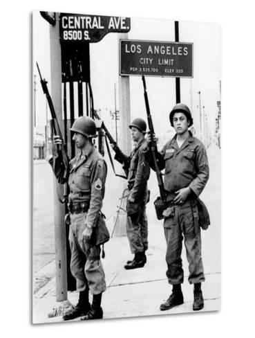 National Guardsmen at a Los Angeles City Limits--Metal Print