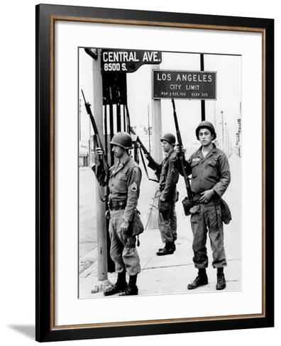 National Guardsmen at a Los Angeles City Limits--Framed Art Print