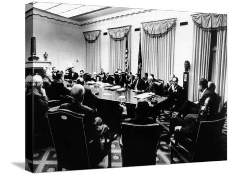 Secret White House Meeting About Resuming the Bombing of North Vietnam--Stretched Canvas Print