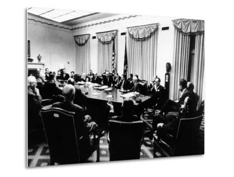 Secret White House Meeting About Resuming the Bombing of North Vietnam--Metal Print