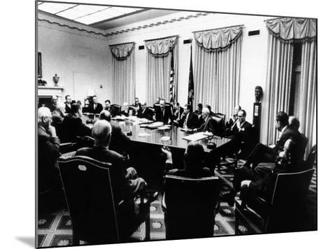 Secret White House Meeting About Resuming the Bombing of North Vietnam--Mounted Photo
