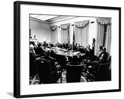 Secret White House Meeting About Resuming the Bombing of North Vietnam--Framed Art Print