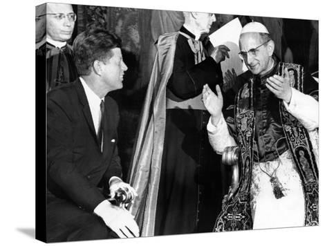President John Kennedy and Pope Paul VI in Conversation--Stretched Canvas Print