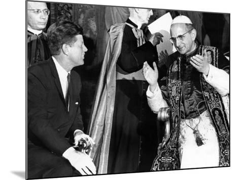President John Kennedy and Pope Paul VI in Conversation--Mounted Photo