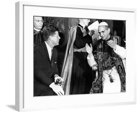 President John Kennedy and Pope Paul VI in Conversation--Framed Art Print