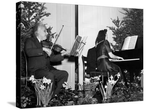 Albert Einstein Giving Violin Recital for American Friends Service Committee for Refugee Children--Stretched Canvas Print