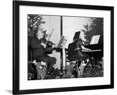 Albert Einstein Giving Violin Recital for American Friends Service Committee for Refugee Children--Framed Art Print