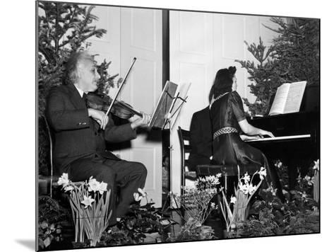 Albert Einstein Giving Violin Recital for American Friends Service Committee for Refugee Children--Mounted Photo