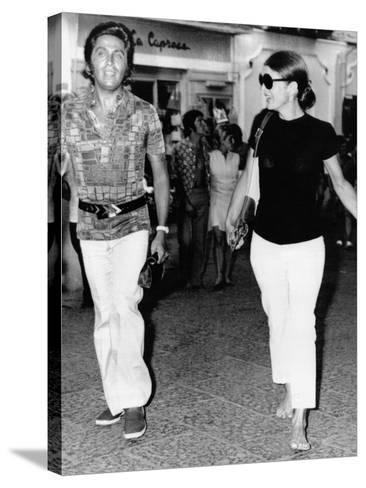 Jacqueline Kennedy Onassis and Fashion Designer Valentino in Capri, Italy, Aug 24, 1970--Stretched Canvas Print