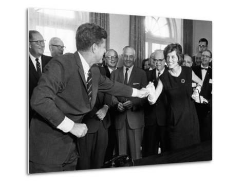 Eunice Shriver Receives a Signing Pen from Her Brother, President John Kennedy--Metal Print