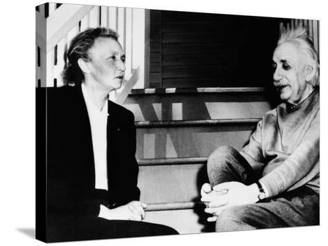 Madame Joliot-Curie and Albert Einstein--Stretched Canvas Print