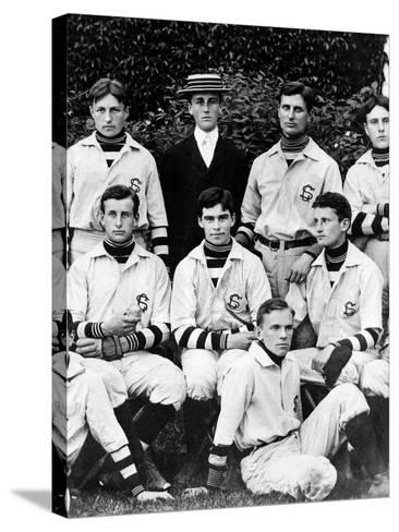 Franklin Roosevelt with His School Baseball Team in Groton, Massachusetts, 1898--Stretched Canvas Print