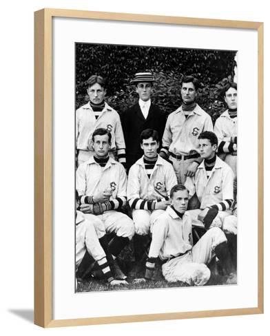 Franklin Roosevelt with His School Baseball Team in Groton, Massachusetts, 1898--Framed Art Print