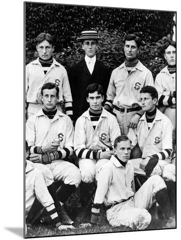 Franklin Roosevelt with His School Baseball Team in Groton, Massachusetts, 1898--Mounted Photo