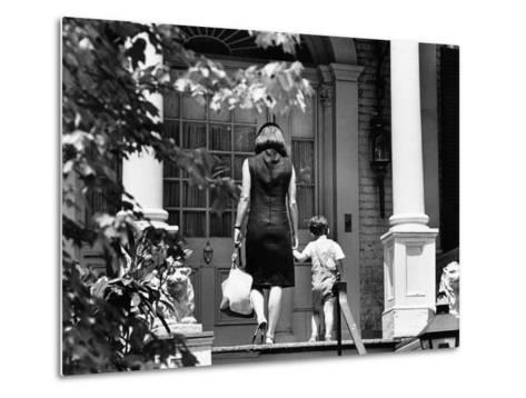 Jacqueline Kennedy and Her Son, 3 Year Old John F, Kennedy Jr Entering Georgetown Federal Era Home--Metal Print