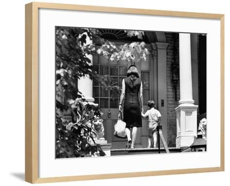 Jacqueline Kennedy and Her Son, 3 Year Old John F, Kennedy Jr Entering Georgetown Federal Era Home--Framed Art Print