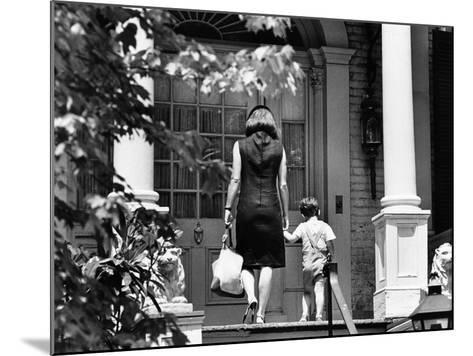 Jacqueline Kennedy and Her Son, 3 Year Old John F, Kennedy Jr Entering Georgetown Federal Era Home--Mounted Photo