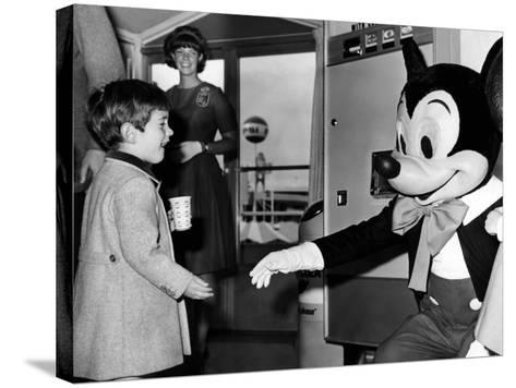 John F Kennedy Jr Shake Hands with Mickey Mouse During Visit to New York World's Fair, Apr 24, 1965--Stretched Canvas Print