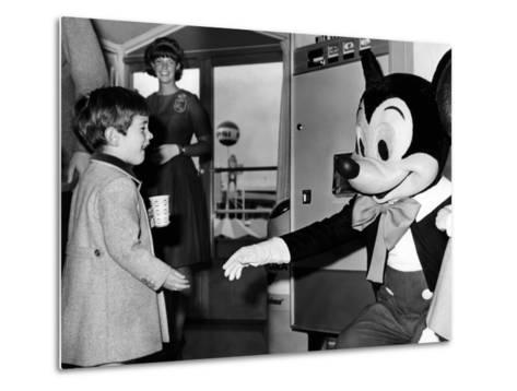 John F Kennedy Jr Shake Hands with Mickey Mouse During Visit to New York World's Fair, Apr 24, 1965--Metal Print