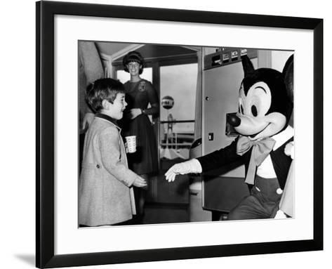 John F Kennedy Jr Shake Hands with Mickey Mouse During Visit to New York World's Fair, Apr 24, 1965--Framed Art Print