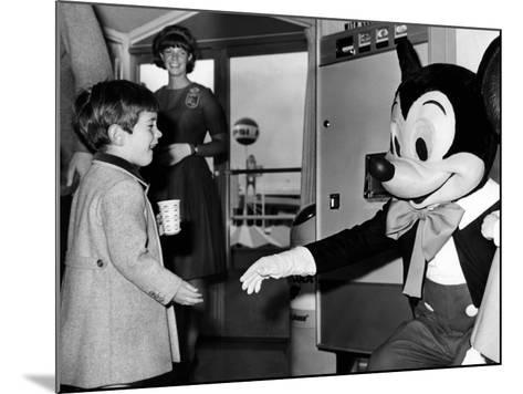 John F Kennedy Jr Shake Hands with Mickey Mouse During Visit to New York World's Fair, Apr 24, 1965--Mounted Photo
