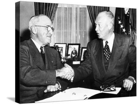 President Harry Truman with President Elect Dwight Eisenhower after Nov Elections, Nov 18, 1952--Stretched Canvas Print