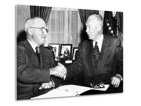 President Harry Truman with President Elect Dwight Eisenhower after Nov Elections, Nov 18, 1952--Metal Print
