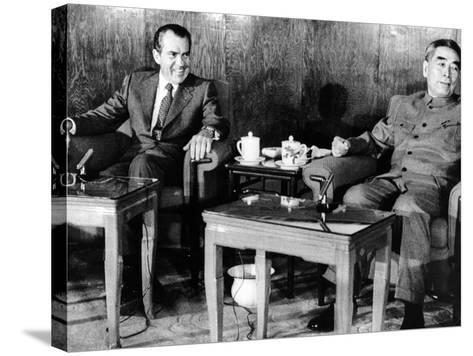Pres Richard Nixon and Premier Chou En-Lai before First Plenary Session, Beijing, Feb 21, 1972--Stretched Canvas Print