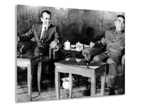 Pres Richard Nixon and Premier Chou En-Lai before First Plenary Session, Beijing, Feb 21, 1972--Metal Print