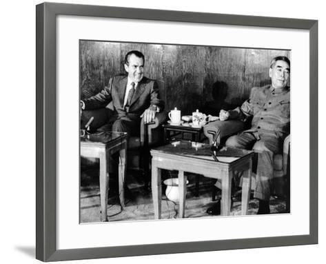 Pres Richard Nixon and Premier Chou En-Lai before First Plenary Session, Beijing, Feb 21, 1972--Framed Art Print