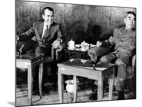 Pres Richard Nixon and Premier Chou En-Lai before First Plenary Session, Beijing, Feb 21, 1972--Mounted Photo