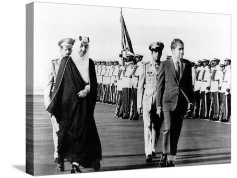 Pres Richard Nixon and King Faisel Review During Arrival Ceremonies, Saudi Arabia, Jun 15, 1974--Stretched Canvas Print