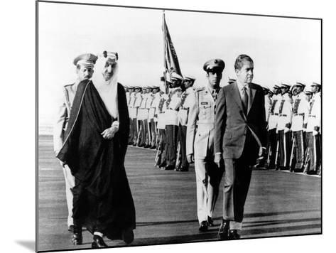 Pres Richard Nixon and King Faisel Review During Arrival Ceremonies, Saudi Arabia, Jun 15, 1974--Mounted Photo