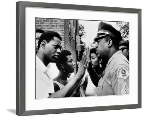 Chicago African American Policeman Tries to Calm a Crowd--Framed Art Print