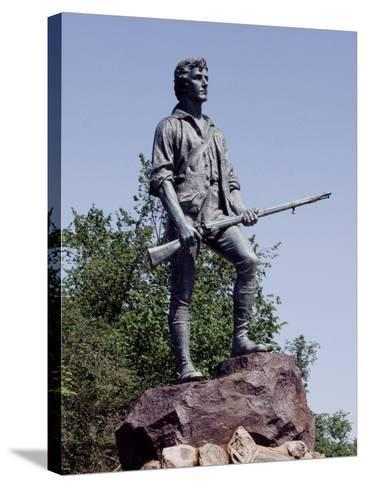 Minute Man Statue on Lexington Battle Green, the Site of the First Battle in the Revolutionary War--Stretched Canvas Print