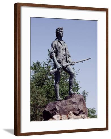 Minute Man Statue on Lexington Battle Green, the Site of the First Battle in the Revolutionary War--Framed Art Print