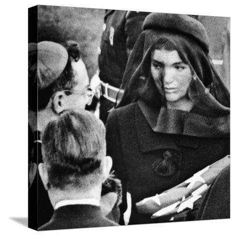 Jacqueline Kennedy at President John Kennedy's Funeral--Stretched Canvas Print