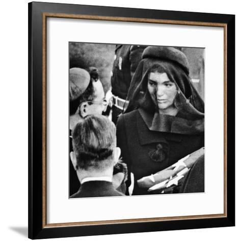 Jacqueline Kennedy at President John Kennedy's Funeral--Framed Art Print