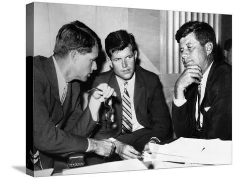 Three Kennedy Brothers at Rackets Hearing--Stretched Canvas Print