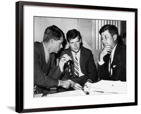 Three Kennedy Brothers at Rackets Hearing--Framed Art Print